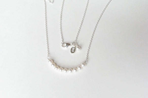 Personalized Bridesmaid Gift, Initial Necklace Pearl Necklace, Pearl Strand, Letter Necklace, Engraved Necklace, Bridal Party Jewelry