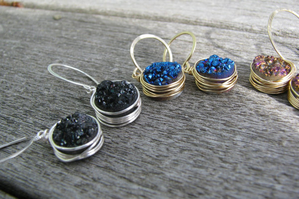 Organic Royal Blue Druzy Earrings - 14K Gold Filled-Sela+Sage