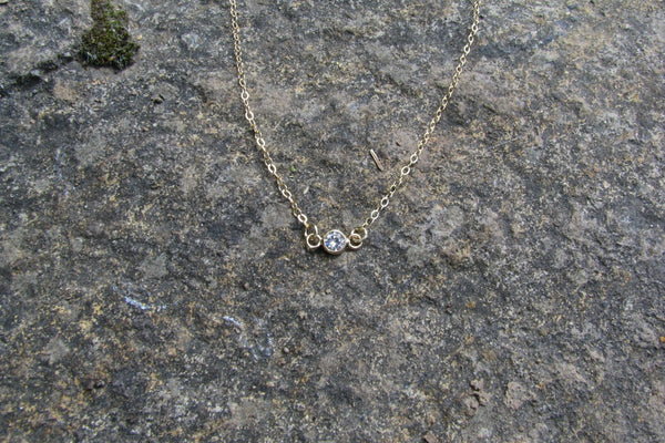 Tiny CZ Diamond Necklace - 14K Gold Filled-Sela+Sage