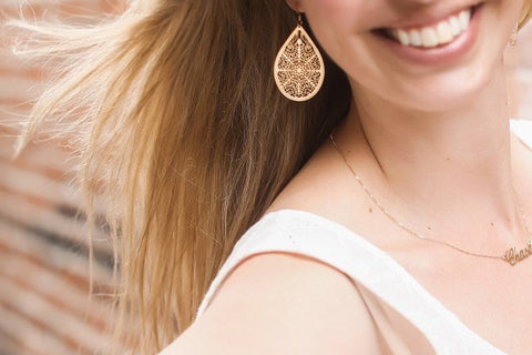 Large, Lightweight Filigree Earrings - 14K Gold Filled or Sterling Silver-Sela+Sage