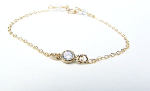 Dainty CZ Diamond Bracelet - 14K Gold Filled-Sela+Sage