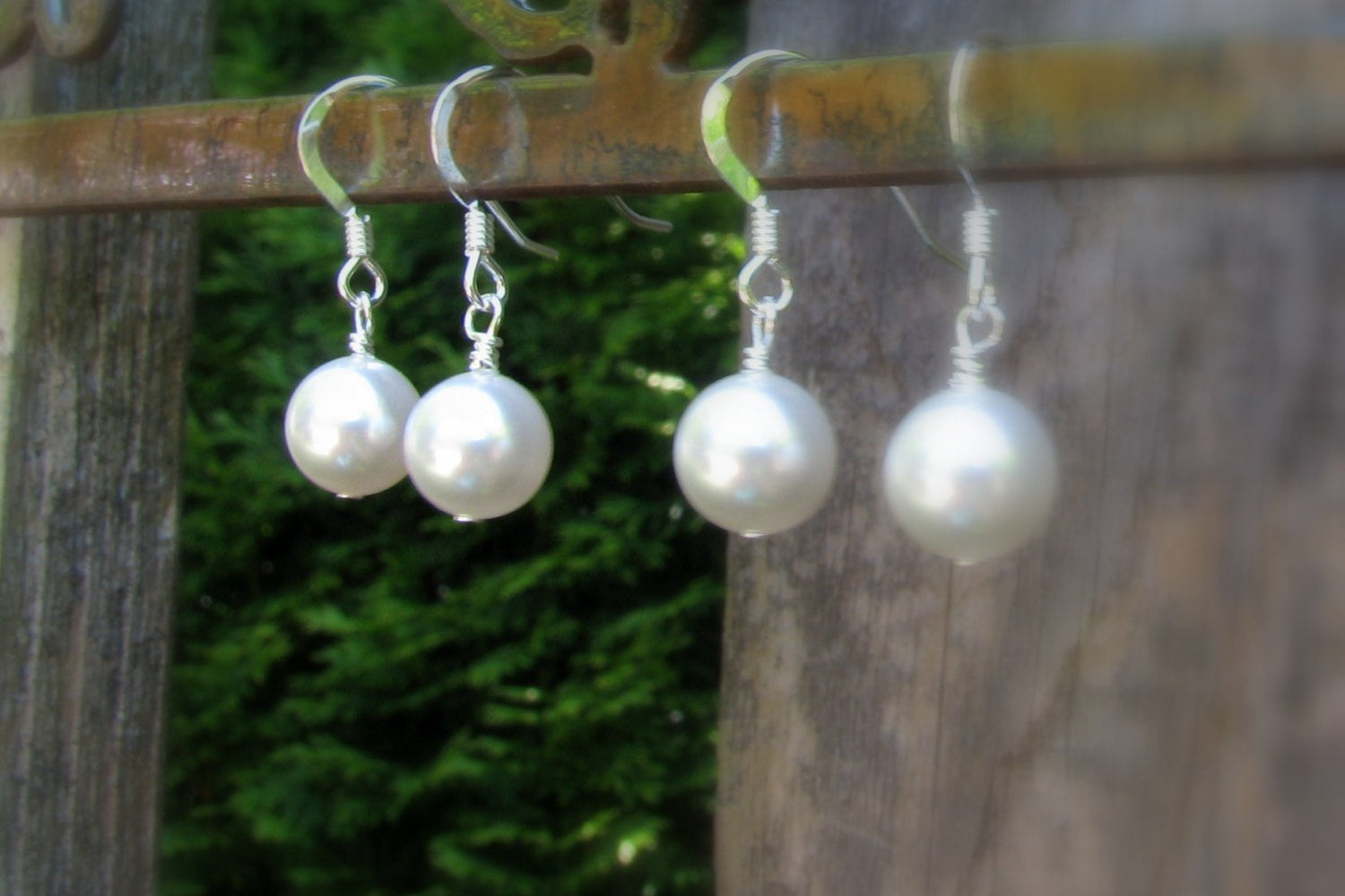 Large Pearl Drop Earrings - Sterling Silver or 14K Gold Filled-Sela+Sage