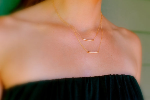 14K Gold Layered Gold Bar Necklace, Double Bar Necklace, Gold Tube Necklace, Thin Gold Bar, Gold Bridesmaids Necklace, Gold Curved Bar