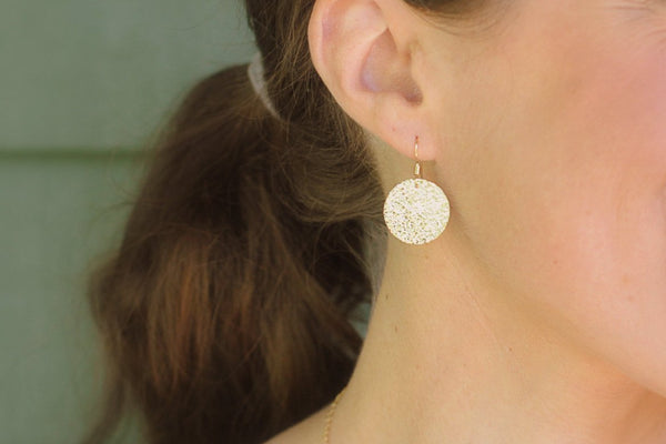 Rustic Disc Earrings - 14K Gold Filled-Sela+Sage