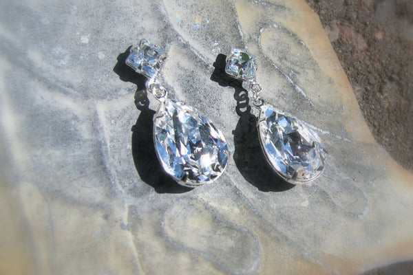 Teardrop Swarovski Earrings - Sterling Silver-Sela+Sage