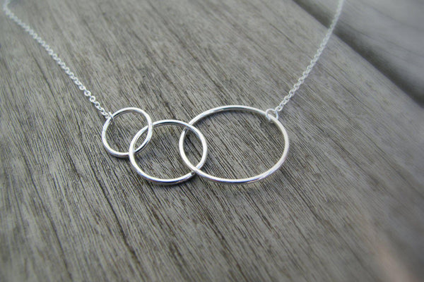 Linked Circles Necklace, Infinity Necklace - Sterling Silver-Sela+Sage