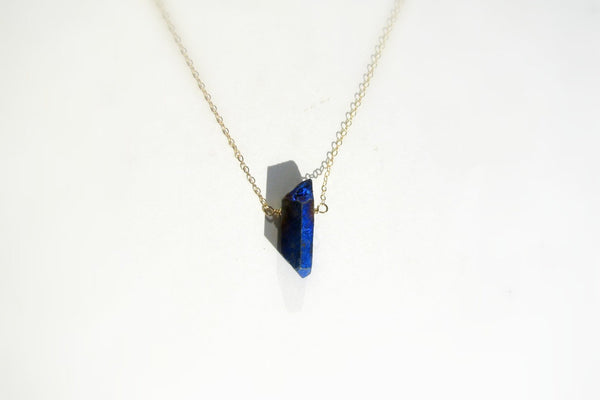 Blue, Raw Crystal Necklace - 14k Gold Filled-Sela+Sage