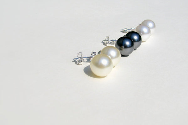 Large Swarovski Pearl Earrings - 14K Gold or Sterling Silver-Sela+Sage