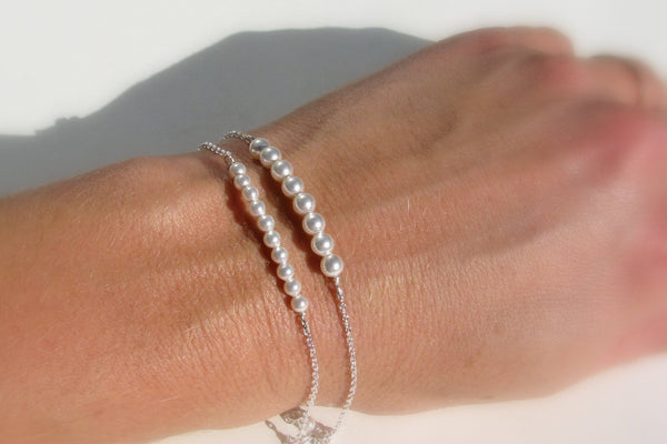 Layered, Stacked Pearl Bracelet - 14K Gold Filled or Sterling Silver-Sela+Sage