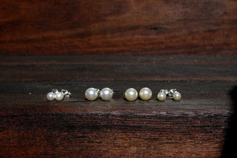 Tiny Pearl Studs, 4mm or 6mm - Sterling Silver or 14K Gold Filled-Sela+Sage
