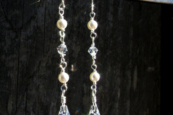 Swarovski Crystal and Pearl Earrings - Sterling Silver-Sela+Sage