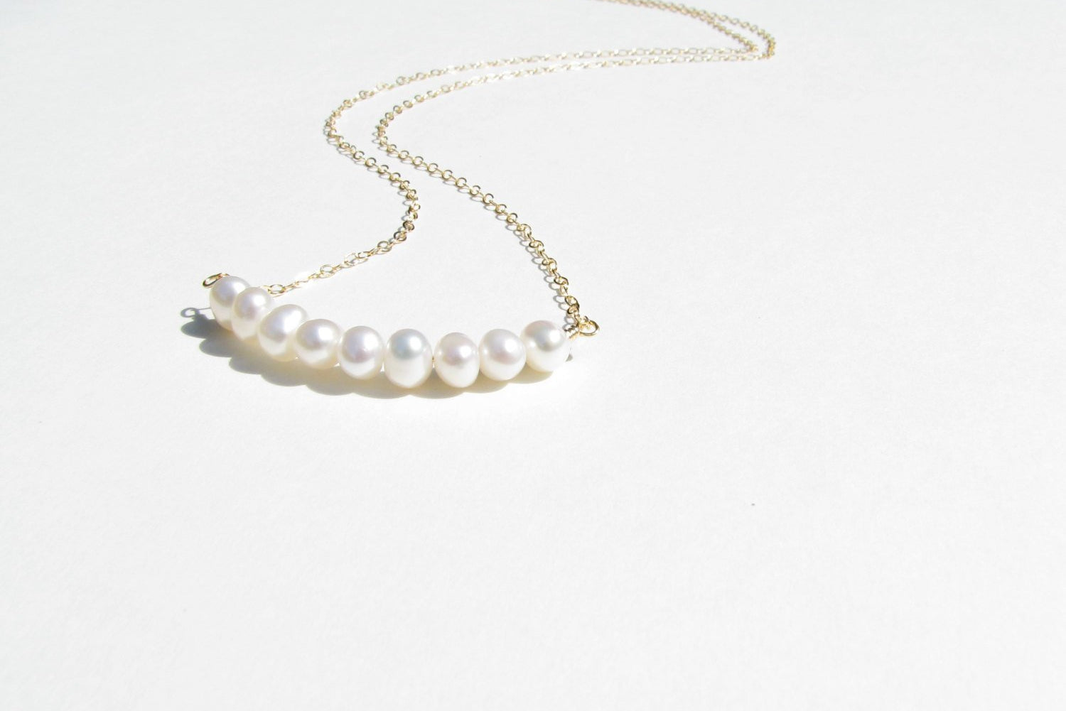 Freshwater Pearl Bar Necklace - 14K Gold Filled-Sela+Sage