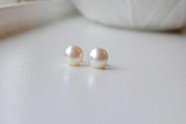 Natural Pearl Stud Earring, Freshwater Pearl Studs - 14K Gold Filled-Sela+Sage