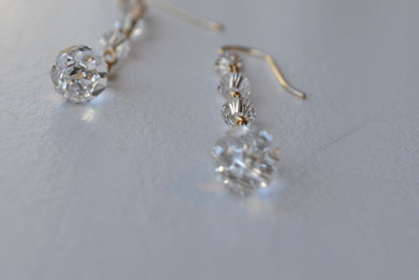 Long Teardrop Crystal Earrings - 14K Gold Filled-Sela+Sage
