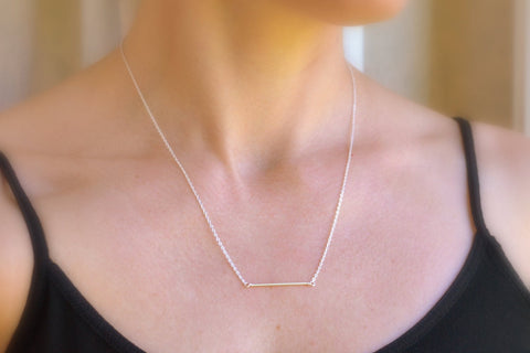 Dainty Bar Necklace - Sterling Silver-Sela+Sage