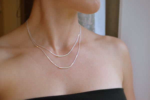 Double Bar Necklace, Layered Necklace Set - 14K Gold Filled-Sela+Sage