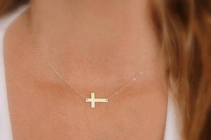 Side Cross Necklace - 14K Gold Filled-Sela+Sage