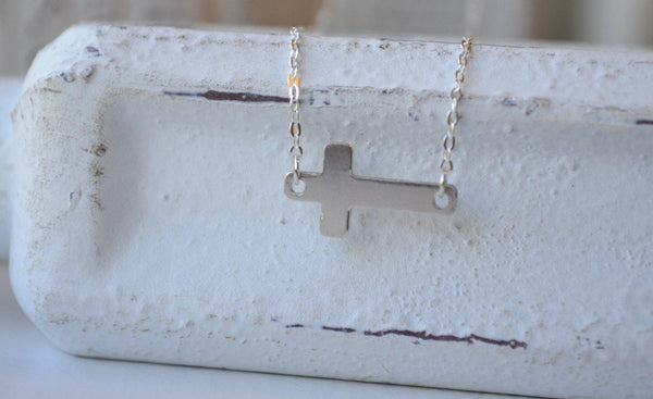 Sideways Cross Necklace - Sterling Silver-Sela+Sage