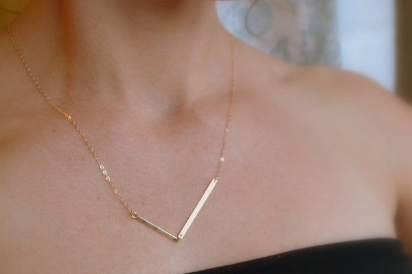Double Bar, 14K Gold V Necklace, Gold Arrow Necklace, Asymmetrical, Gold Chevron Necklace - Modern Geometric Jewelry