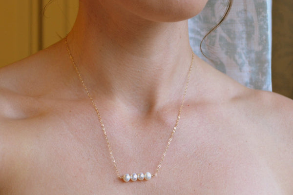 Natural Four Pearl Necklace - Sterling Silver-Sela+Sage