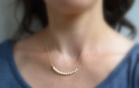 Dainty Pearl Necklace - 14K Gold Filled-Sela+Sage