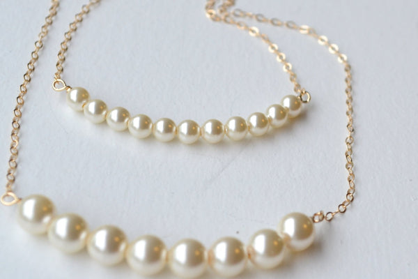 Single Strand Pearl Bracelet - 14K Gold or Sterling Silver-Sela+Sage