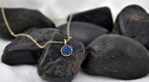 Small Blue Druzy Dot Necklace - 14K Gold Filled-Sela+Sage