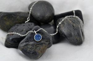 Deep Blue Druzy Necklace - Sterling Silver-Sela+Sage