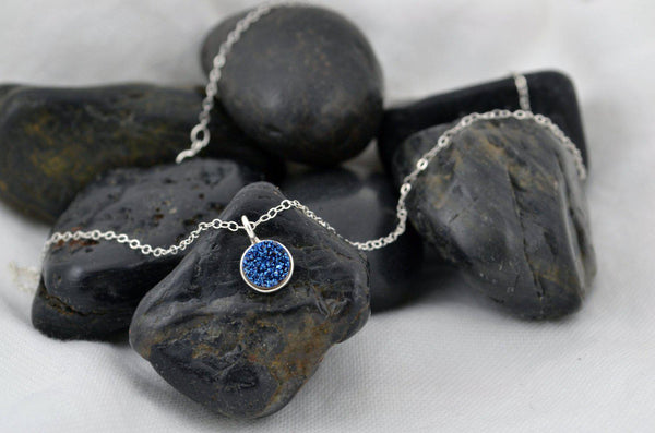 Deep Blue Druzy, Sterling Silver Necklace, Raw Drusy Necklace - Deep Midnight Blue Pendant Silver Chain, Healing Jewelry, Mineral, Bezel