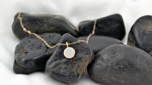 White Druzy Necklace - 14K Gold Filled-Sela+Sage