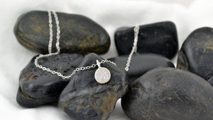 White, Raw Druzy Necklace - Sterling Silver-Sela+Sage
