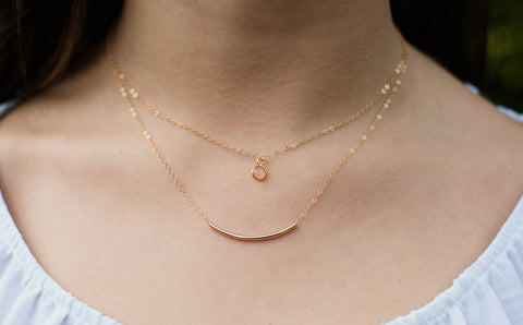 Pale Pink Onyx Necklace - 14K Gold Filled-Sela+Sage
