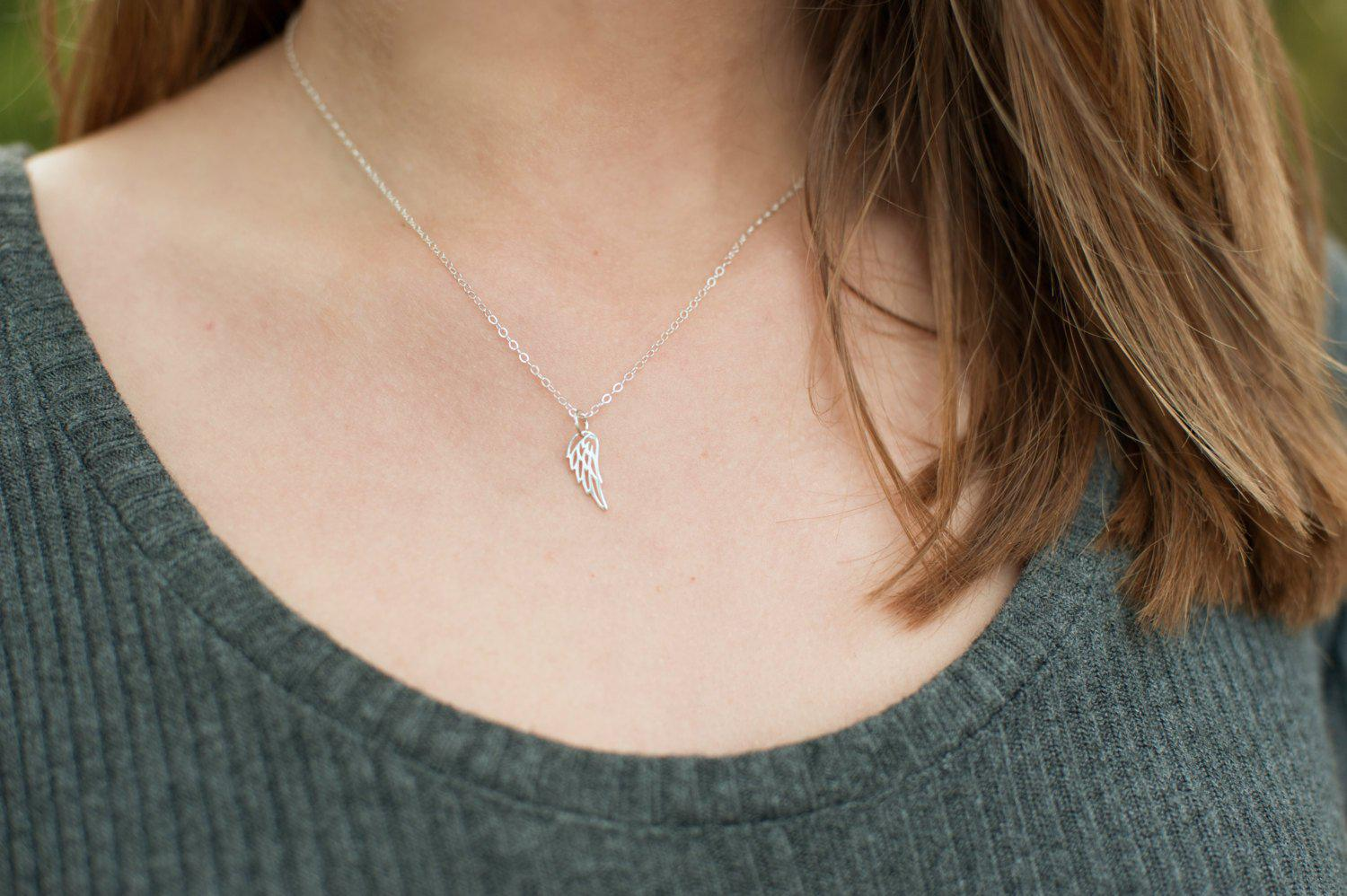 Dainty Wing Necklace - Miscarriage Gift - Sterling Silver-Sela+Sage