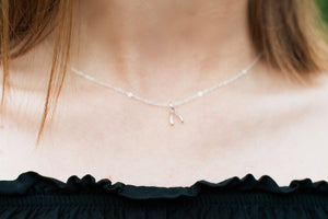 Tiny Wishbone Charm Necklace - Sterling Silver-Sela+Sage