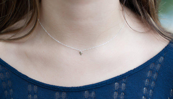 Tiny Triangle Arrow Necklace - Sterling Silver-Sela+Sage