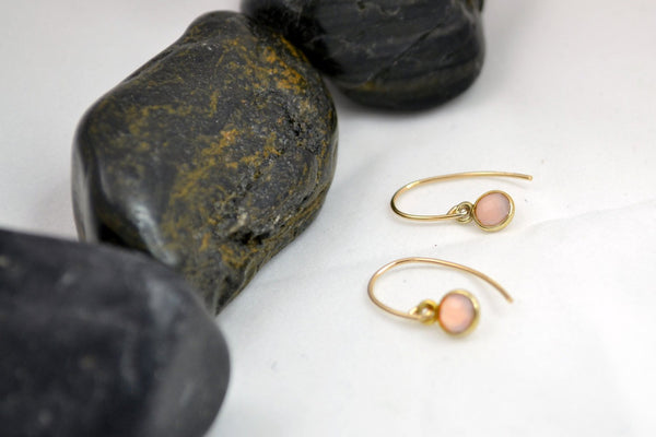 Little Pink Onyx Earrings , Tiny Dot - 14K Gold Filled-Sela+Sage