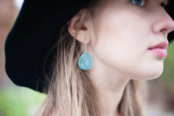 Aqua Chalcedony Gemstone Earrings - Sterling Silver-Sela+Sage