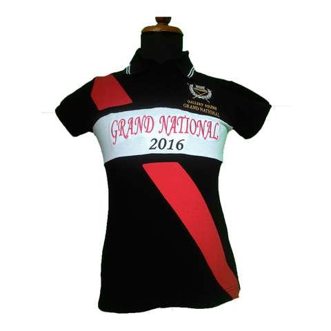 GN Women's polo - Black with red stripe
