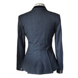 Blue/grey check riding jacket with blue velvet collar