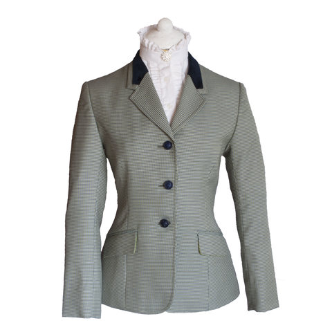 Olive puppytooth riding jacket with navy velvet collar