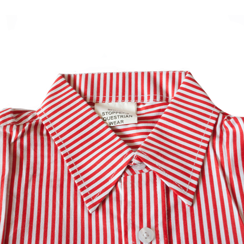 Red and white striped show shirt - matching collar