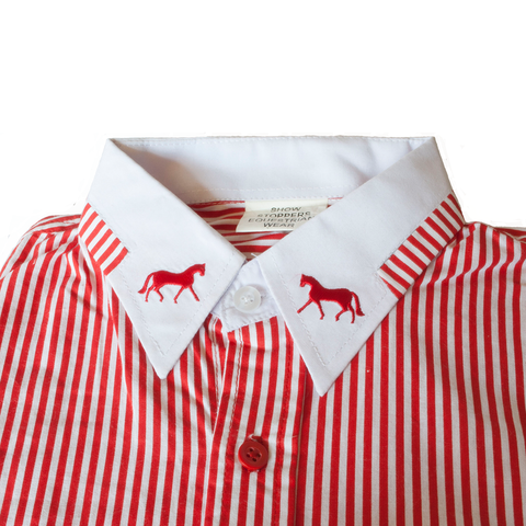 Gallery equine Show Stoppers Red & white striped show shirt with horse