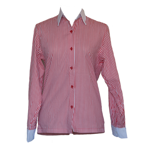 Red and white striped show shirt