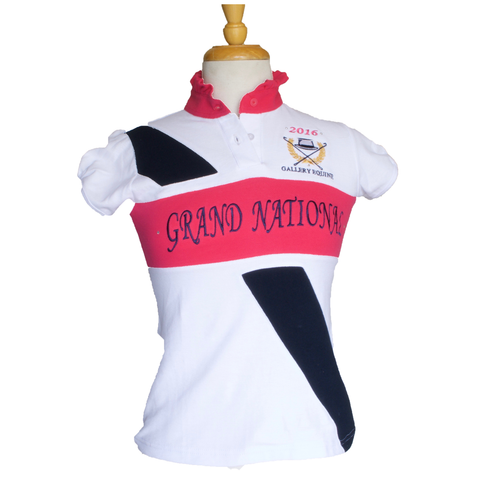 GN Women's polo - White with pink frill collar