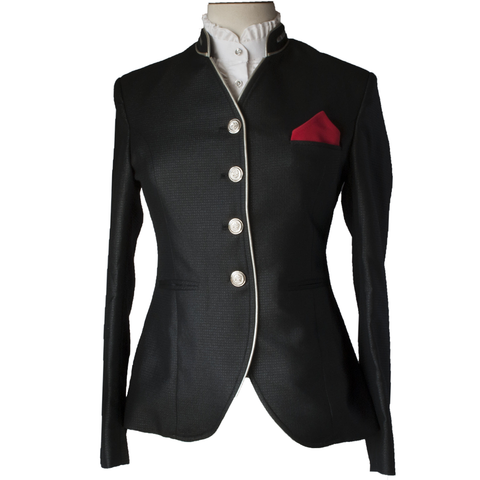 Shiney black riding jacket with silver leather accents