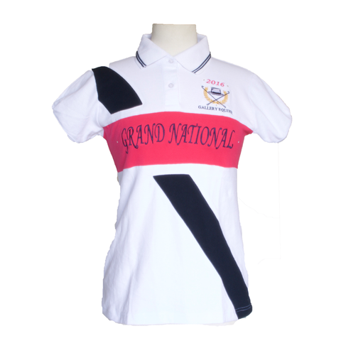 GN Women's polo - White with white collar