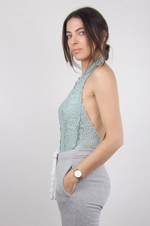 Backless lace bodysuit in Aqua. Image 2