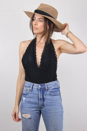 Backless lace bodysuit in Black. Image 4