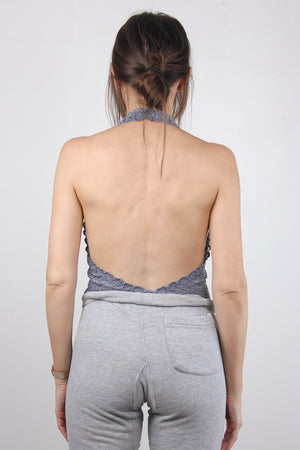 Backless lace bodysuit in Grey.