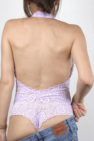 Backless lace bodysuit in Lavender. Image 2